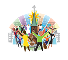 people with outstretched arms around church steeple
