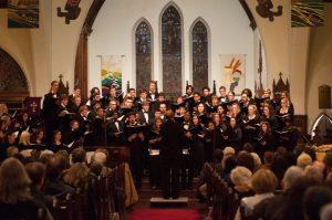 choir singing at front of church