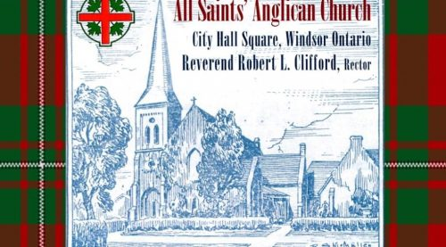 graphic of All Saints Church with tartan border