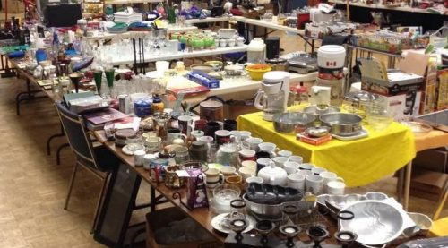 Photo of yard sale items in church hall