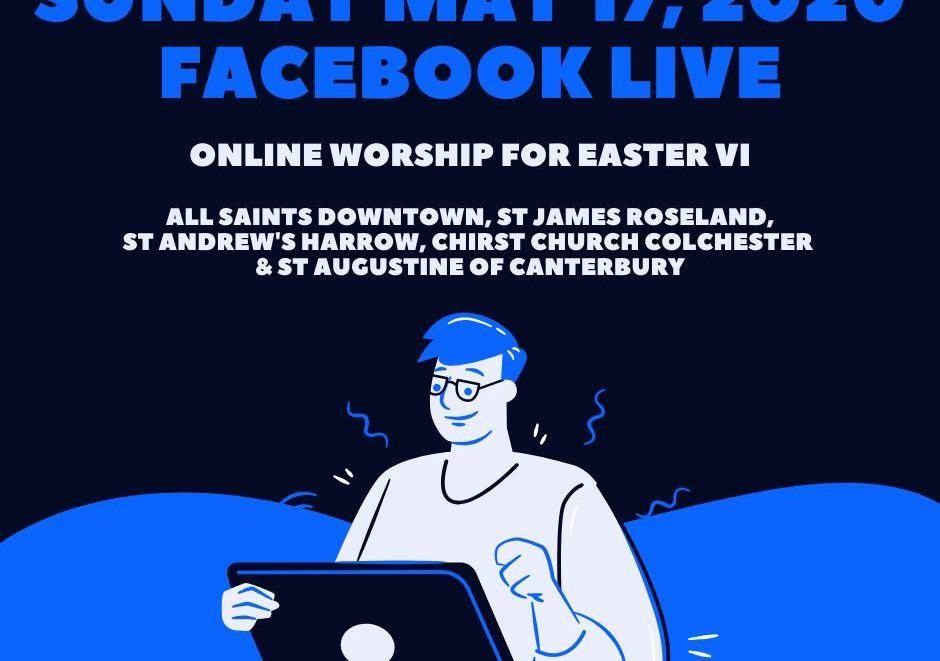 Graphic announcing online worship May 17