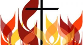 graphic of cross and flames for Pentecost