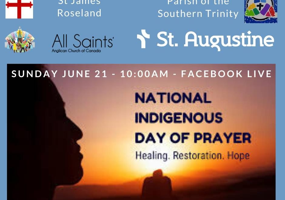 Graphic listing three parishes and Indigenous Day of Prayer