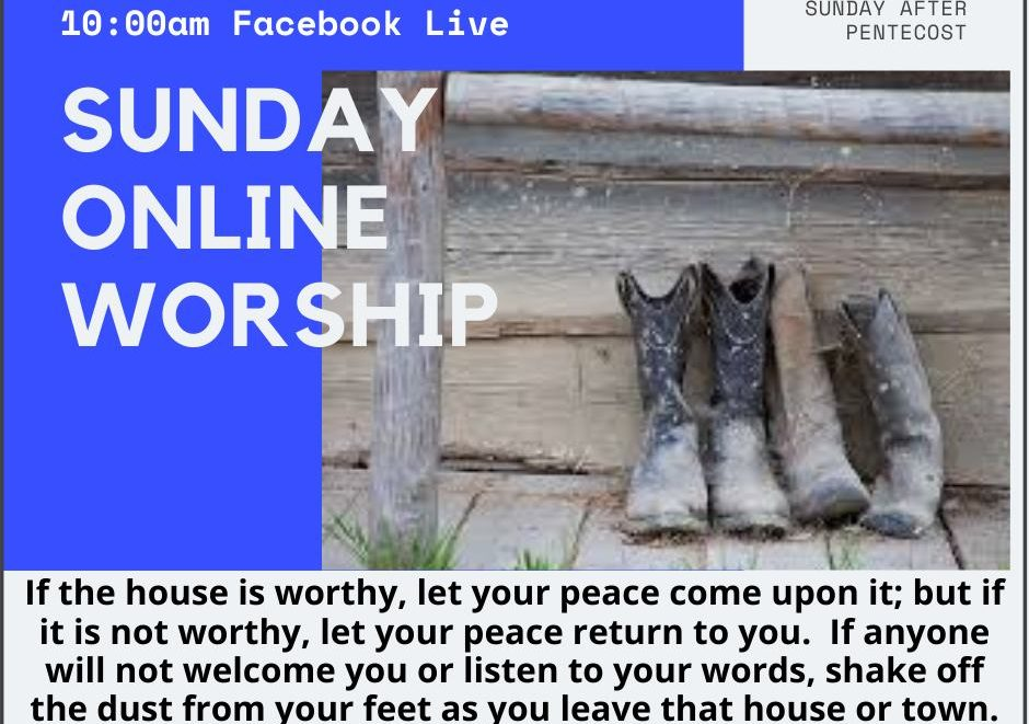 Graphic announcing online worship