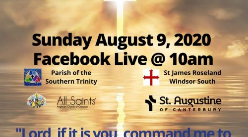 Graphic announcing Aug 9 worship. Picture of a cross of light and sunset