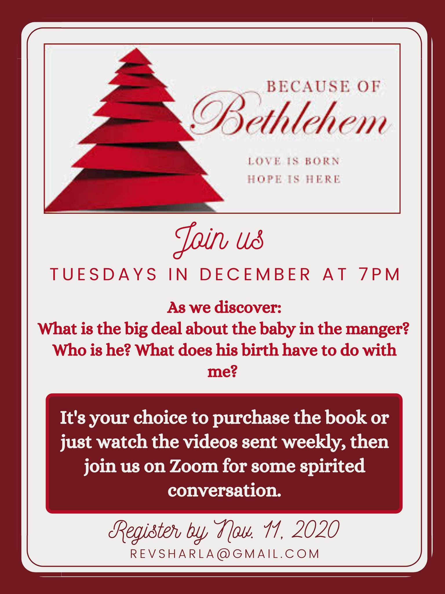 Poster for Online Advent Series via Zoom. All text available in the post