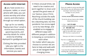 How to access online worship by phone pamphlet page 2 of 2