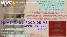 Poster graphic for Food Drive. All information in text of post.